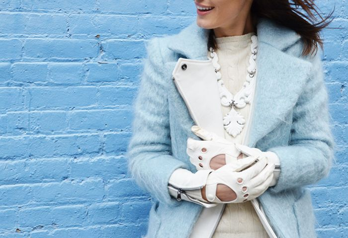 pastel blues and winter whites. love the accessories