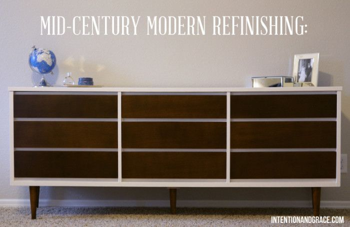 Mid Century Modern Dresser Diy Painting And Staining Laminate Wood Refinishing Intentionandgrace