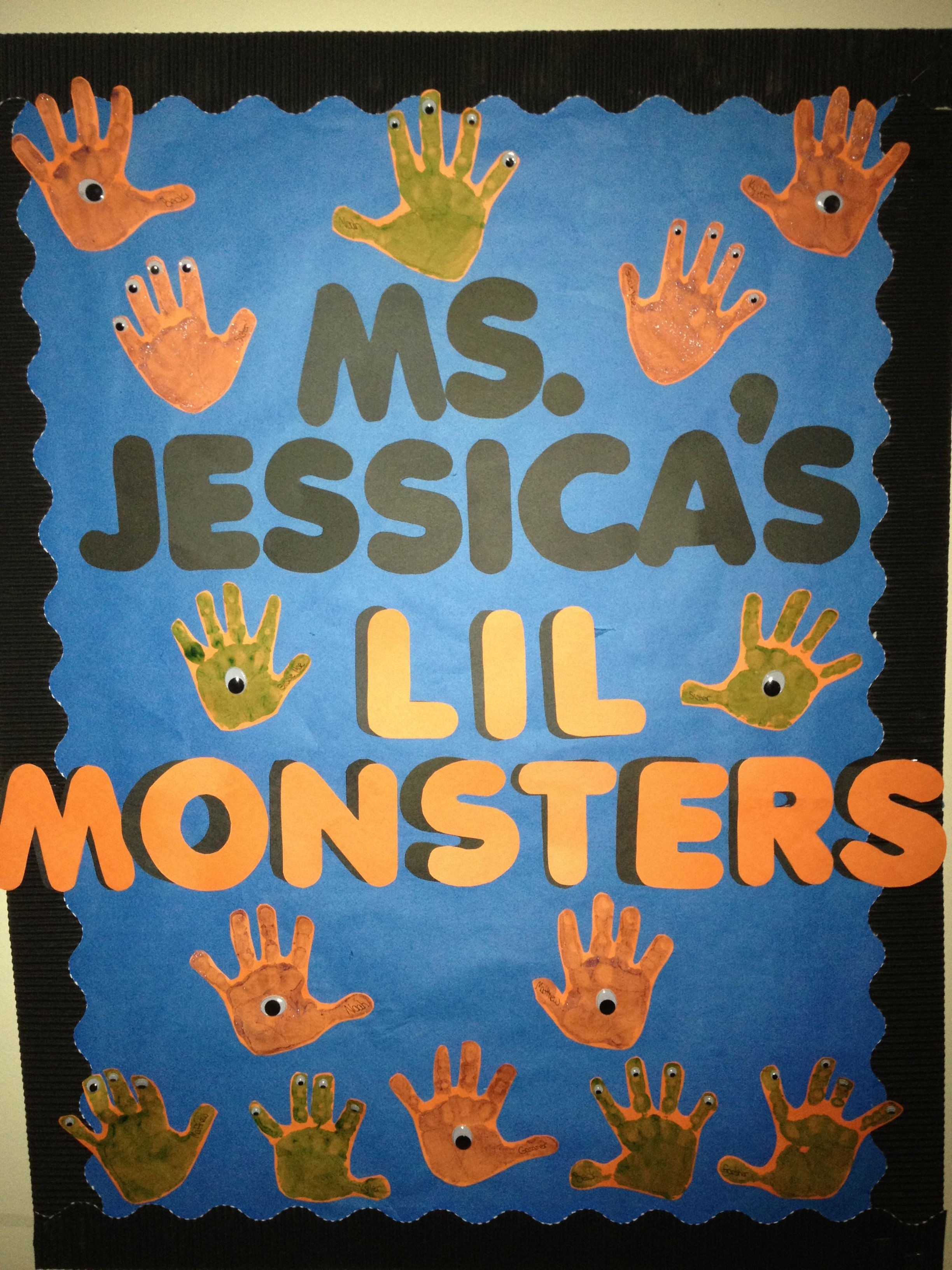 Halloween Bulletin Board Idea But With Monsters Instead Of Handprints