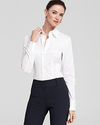 3b8a0922c BOSS HUGO BOSS Bashina Button Down Blouse | Bloomingdale's | Office ...