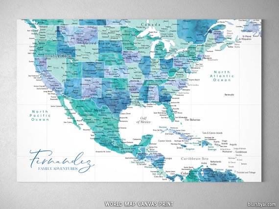 Personalized push pin map of the USA, Mexico and the ...
