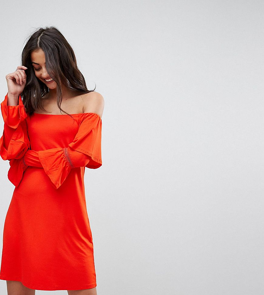 asos tall - schulterfreies mini-sommerkleid mit flamenco