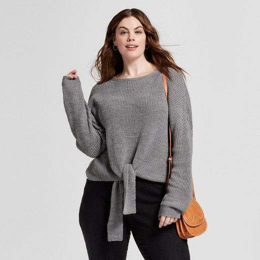 This Sweater Is So Cozy And Flattering Womens Plus Size Tie Front