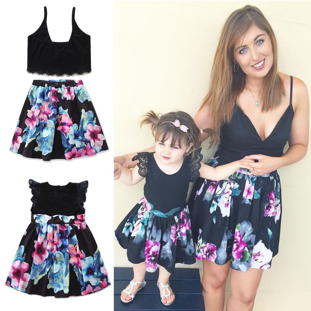 d1317acaee2 Family Clothes Lady s Mother Daughter Matching Summer Baby Girl Dress Outfit  Tutus For Girls
