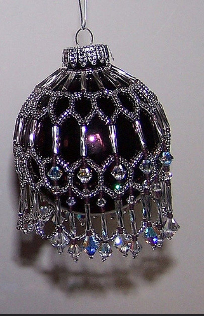 Beaded Ornament Cover Beaded Christmas Decorations Beaded Christmas Ornaments Beaded Ornament Covers