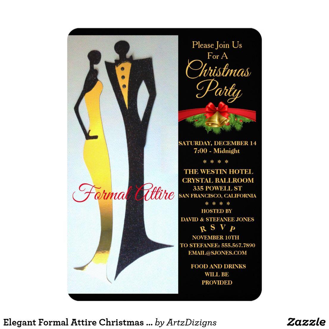 Elegant Formal Attire Christmas Party Invitation
