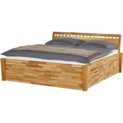 Photo of Solid wood bed frame with bed box – wood-colored – 216 cm – 93 cm – beds> bed frames furniture Kr