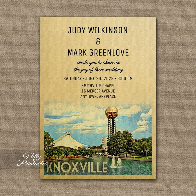 Knoxville Tennessee Wedding Invitation PRINTED | Vintage Travel ...