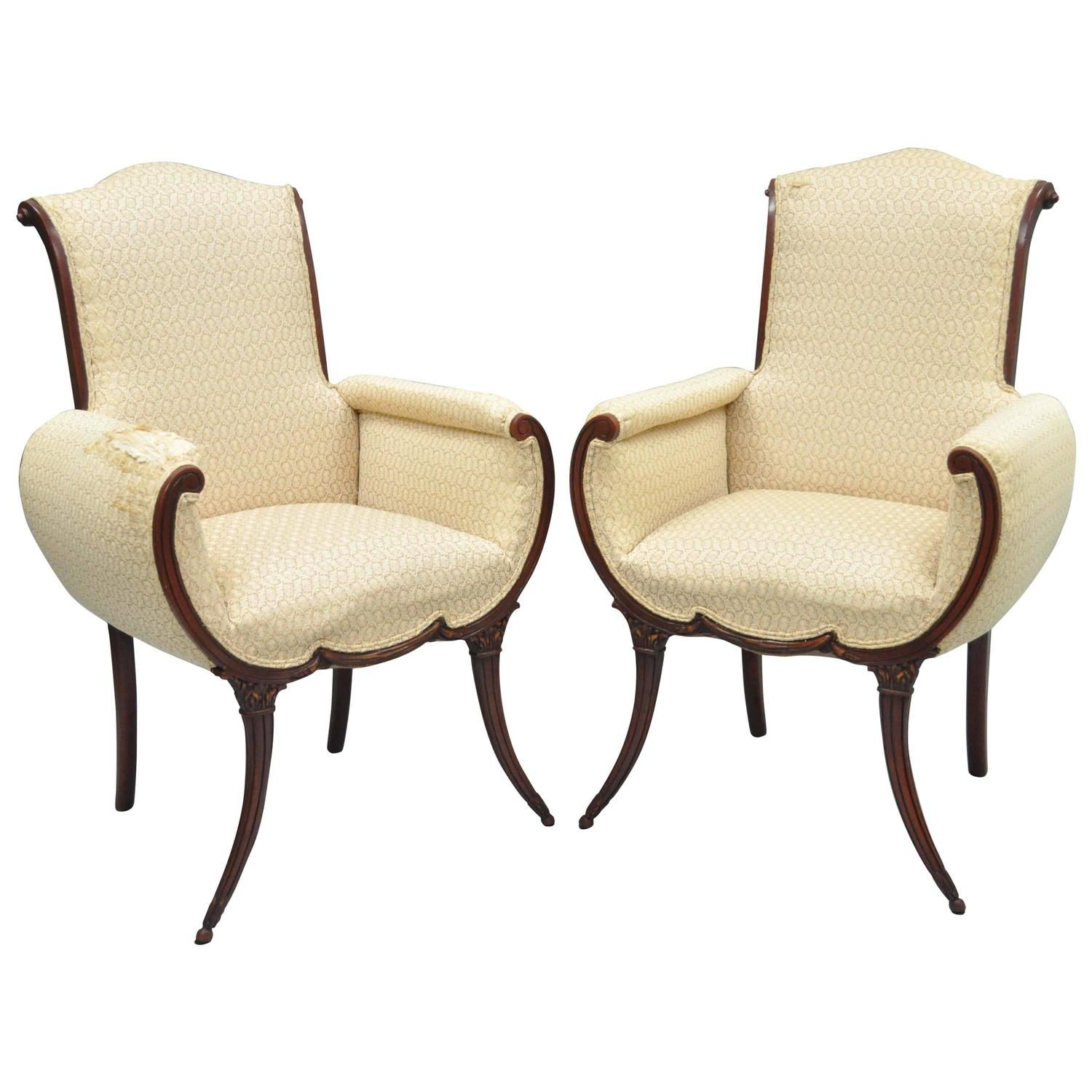 Captivating Pair Of Hollywood Regency Mahogany Saber Leg Fireside Chairs Attr Grosfeld  House
