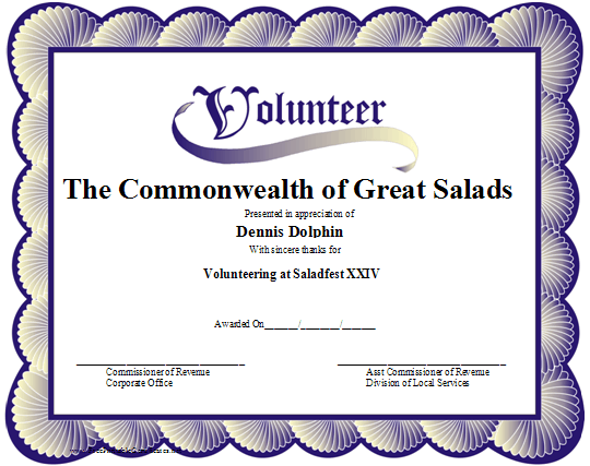A printable volunteer certificate with a blue scalloped border ...