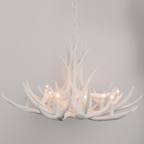 Diaodeng Country Spotlight White Antlers Chandelier Antler