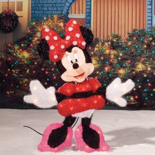 30 lighted minnie mouse disney tinsel christmas outdoor decoration new in box