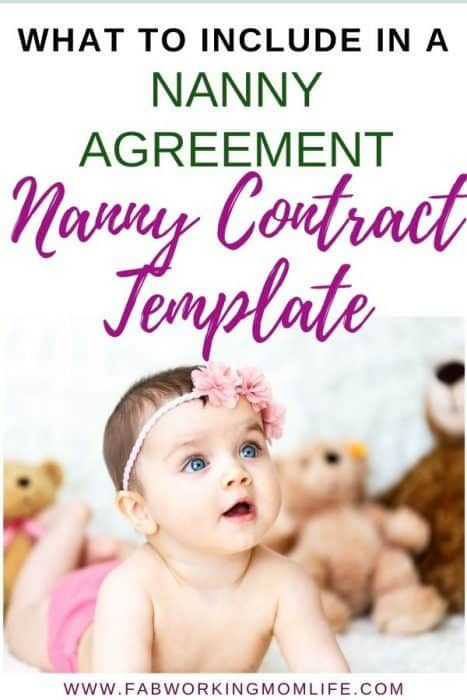 Nanny Contract Template - what to include in your nanny agreement. Why you need a Nanny Contract: An agreement or contract between the nanny and your family is meant to protect both parties and outline expectations.   Fab Working Mom Life #nanny #baby #workingmom #infant #childcare #babysitter