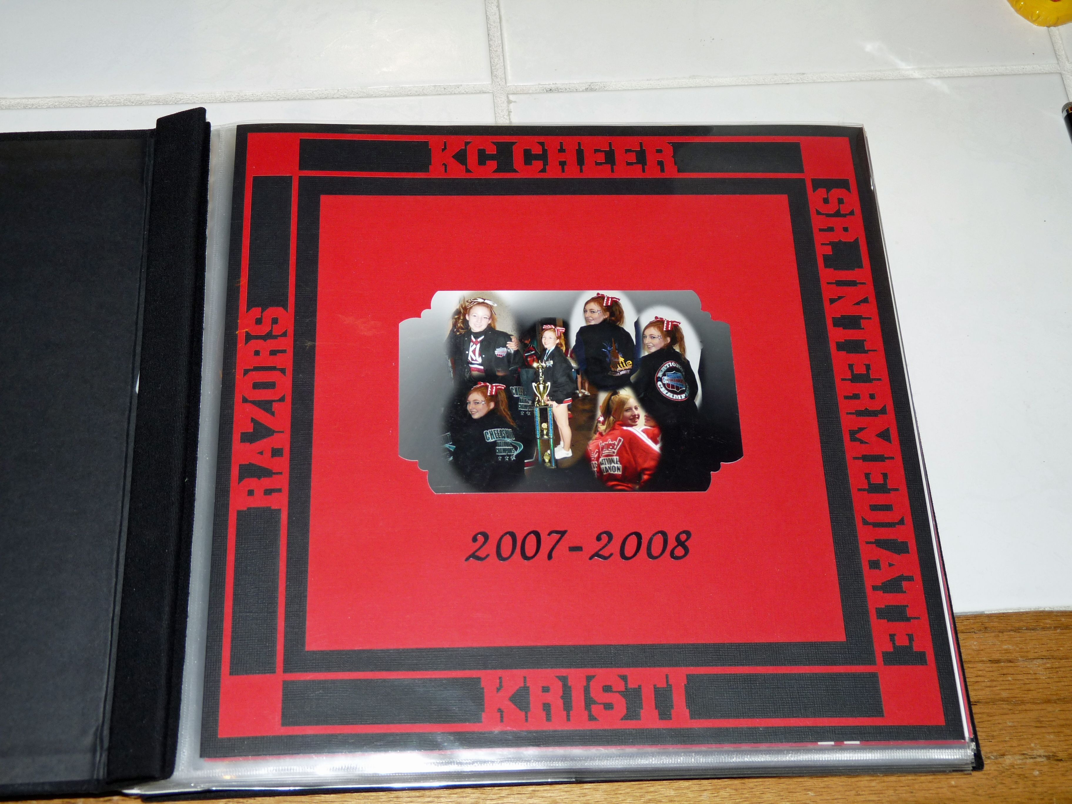 Scrapbook layout from Kristi's KC Cheer Scrapbook / Album