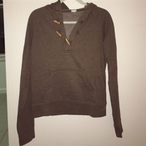 J.Crew hooded long-sleeve sweatshirt! This item is so soft with fun wooden toggles! Worn only a handful of times. I air dry everything so this sweater has never been dried in a dryer. J. Crew Tops Sweatshirts & Hoodies
