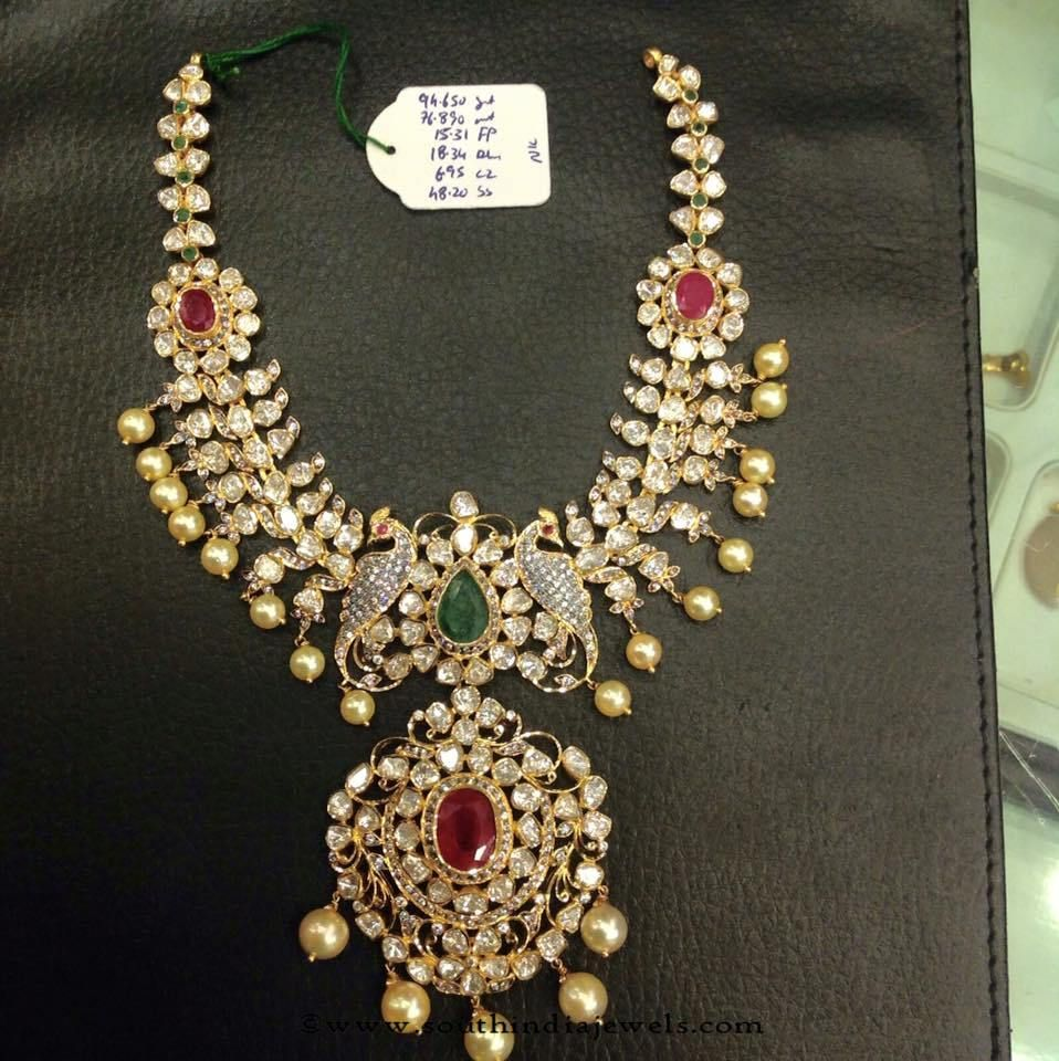 Latest gold necklace designs in grams pachi necklace latest jewellery - 22k Gold Polki Pachi Necklace