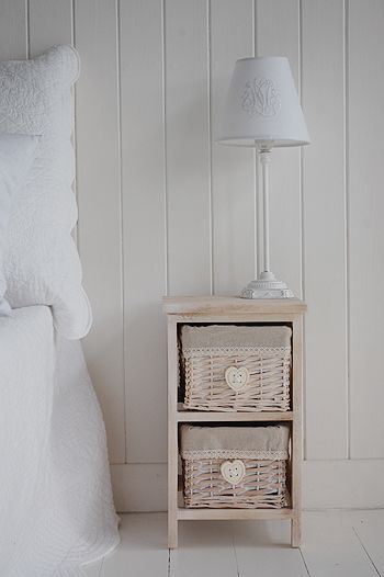 extra small bedside table with baskets for storage 25 cm | Bedroom ...