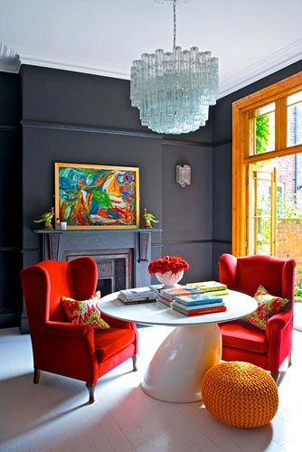 colourful living room ingrid rasmussengap interiors loveeee the red arm chairs - Colourful Living Room