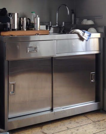 Stainless steel sink unit with cupboard fire tower house for Stainless steel kitchen base cabinets