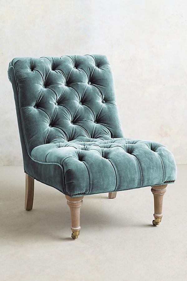 Slub Velvet Orianna Slipper Chair By Anthropologie In