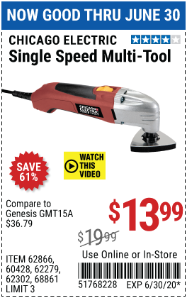 Chicago Electric Oscillating Multi Tool For 13 99 In 2020 Multitool Harbor Freight Tools Harbor Freight Coupon
