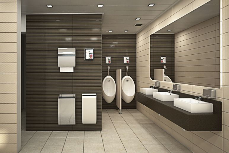 Toilet room at an office building design by dana shaked for Modern washroom designs