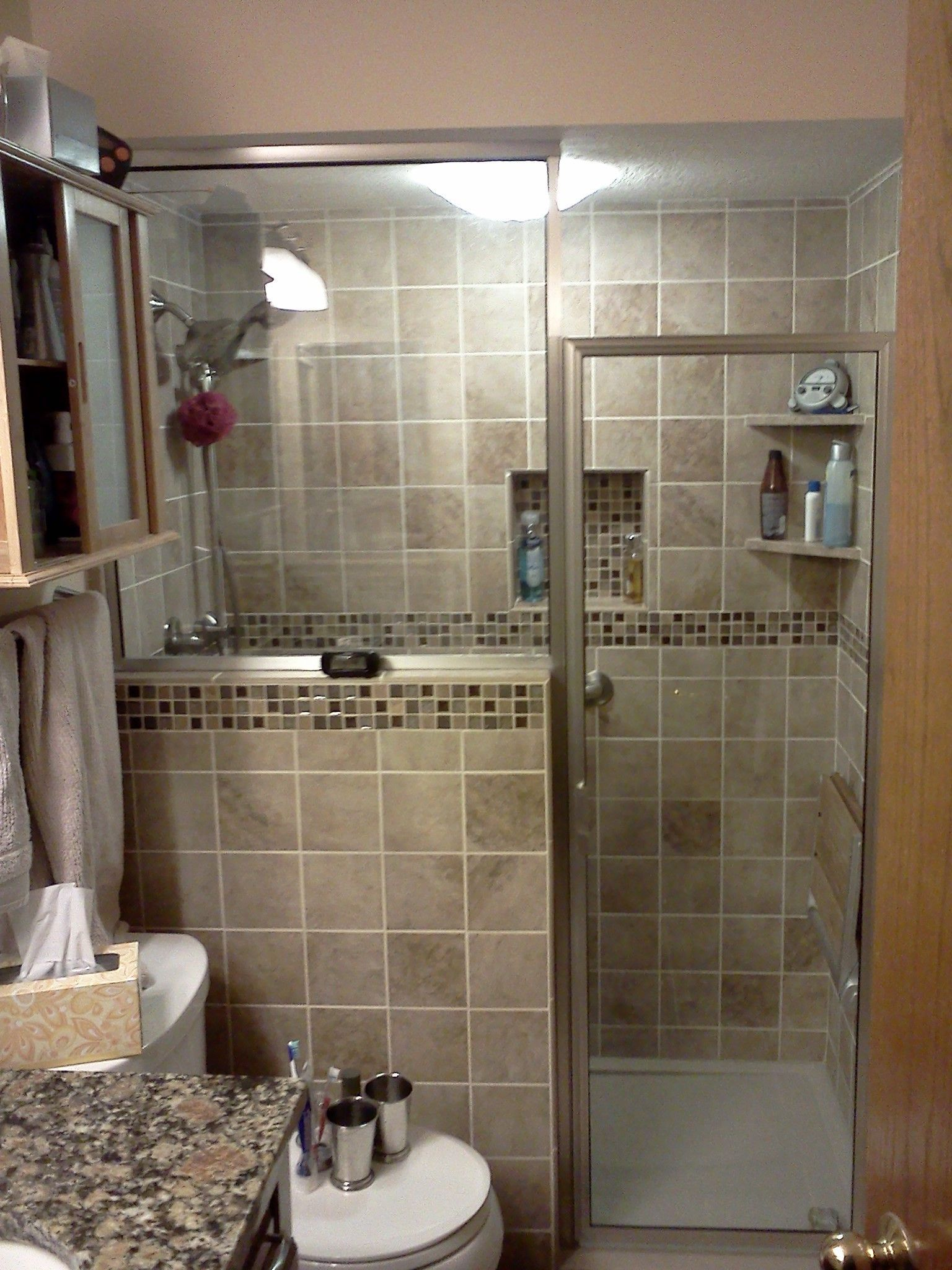 Bathroom Remodelconversion From Tub To Shower With Privacy Wall - Basement bathroom contractors