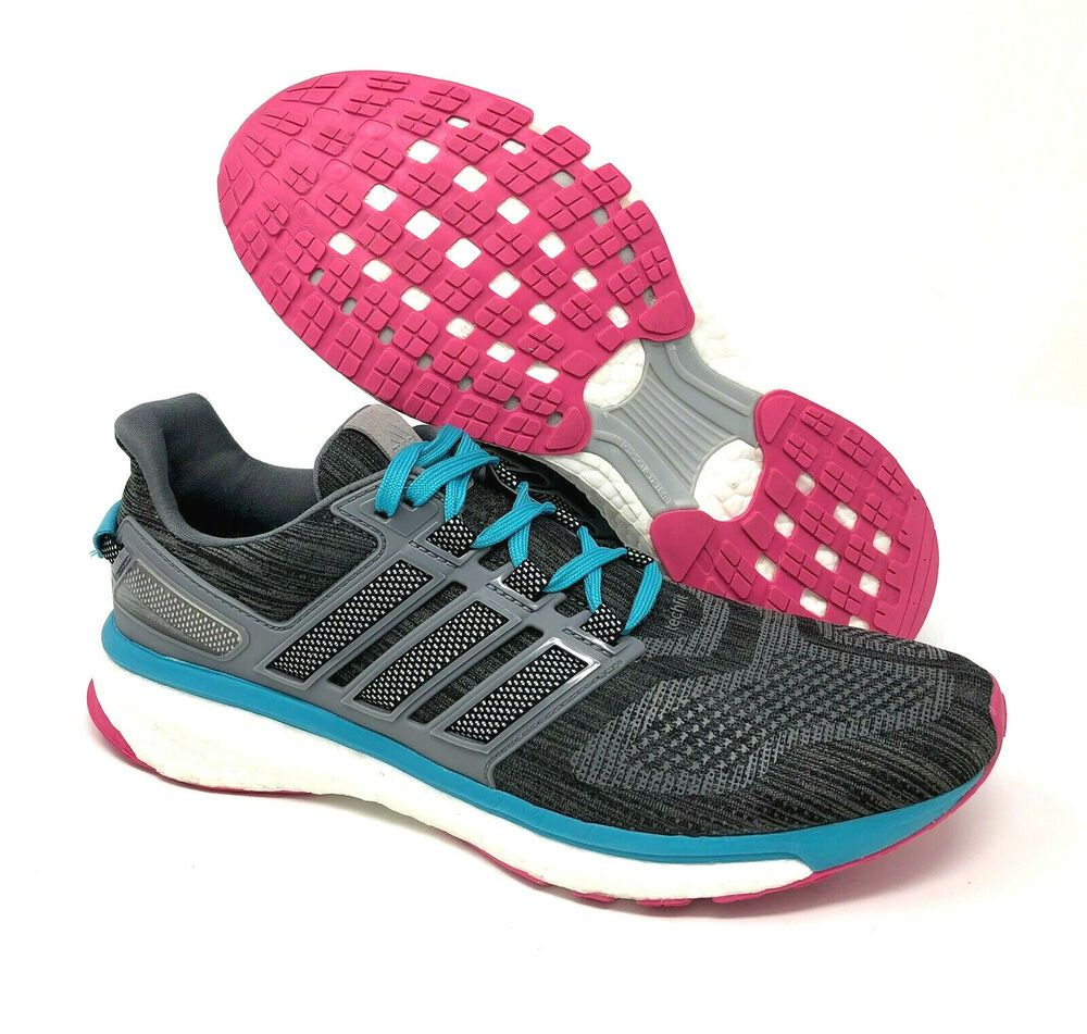 Adidas Energy Boost 3 Womens Size 10 M Running Shoes Gray Teal Techknit Sneakers Adidas Runningshoes Sneakers Running Shoes Grey Running Shoes Sneakers
