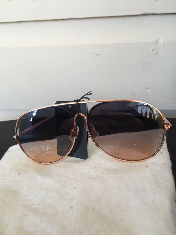 343dfd73635c 19V69 Italia Versace 1969 RGD Martina Gold/Rose Aviator Sunglasses NWT |  eBay