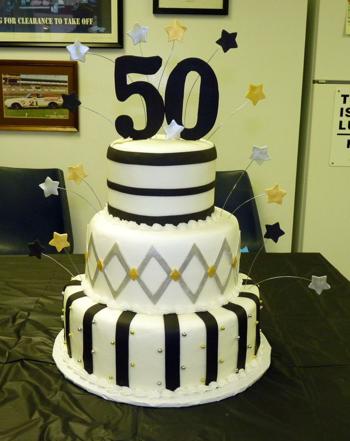 Cake Decoration For Him : 50th birthday cake ideas Black, silver and gold 50th ...