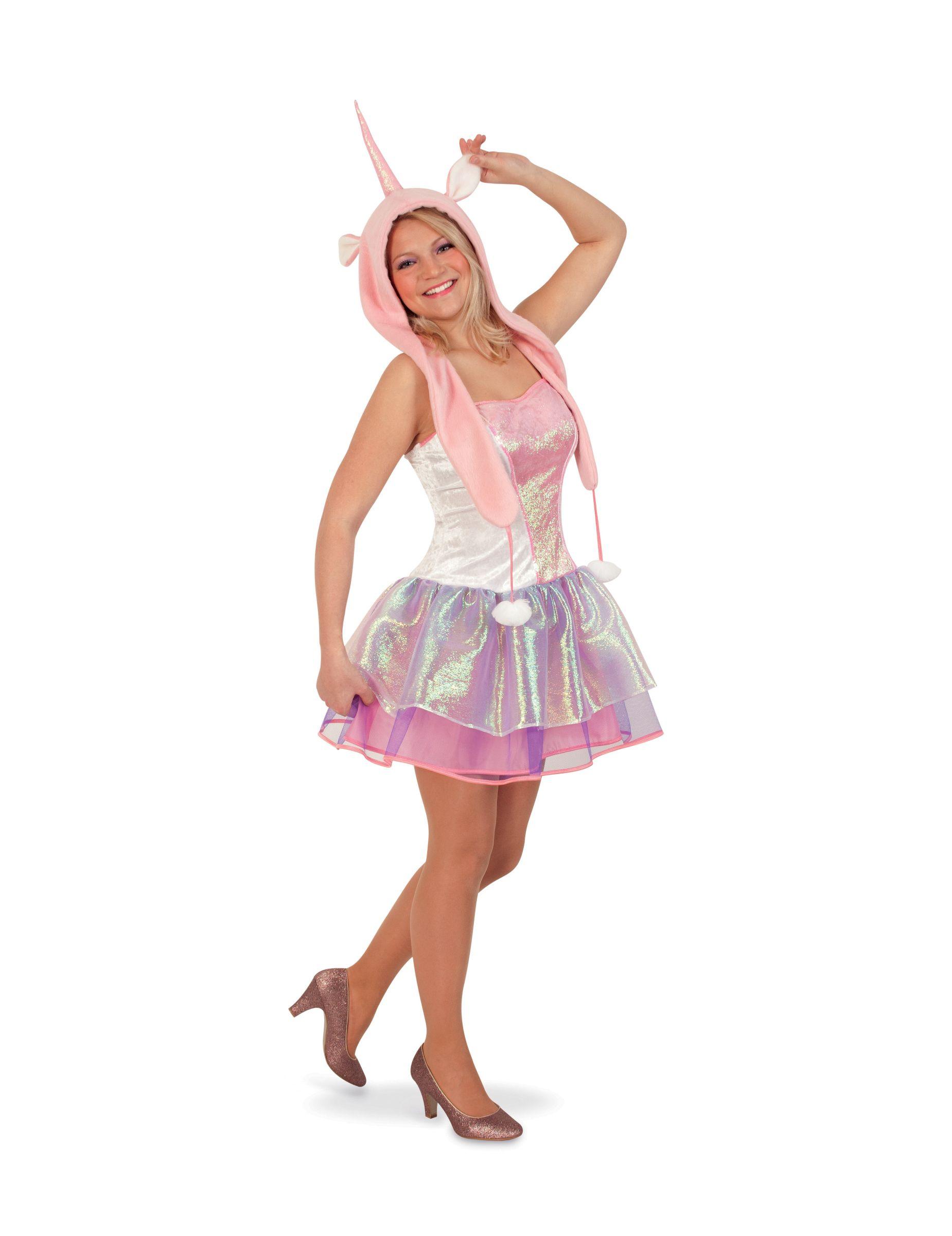 d38714900973 Disfraz unicornio mujer: Este disfraz de unicornio para mujer incluye un  vestido y un gorro