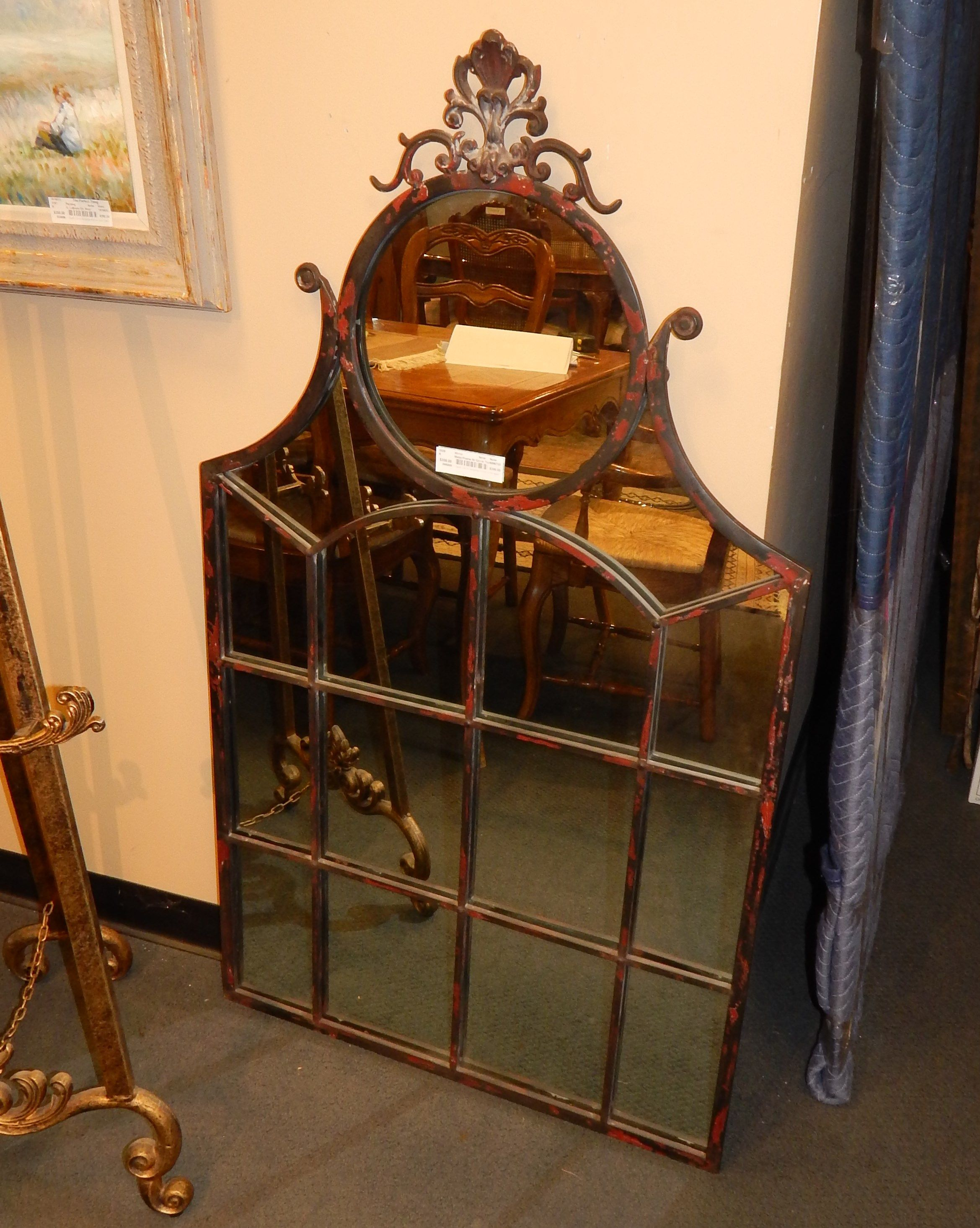 Metal Frame Mirror Distressed Look In Red And Brown Round