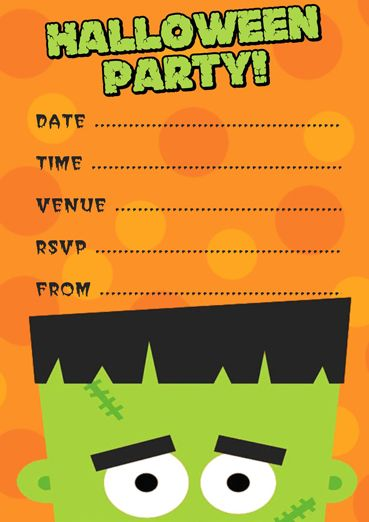 Frankenstein Halloween Free Party Invitation Template  Trick Or