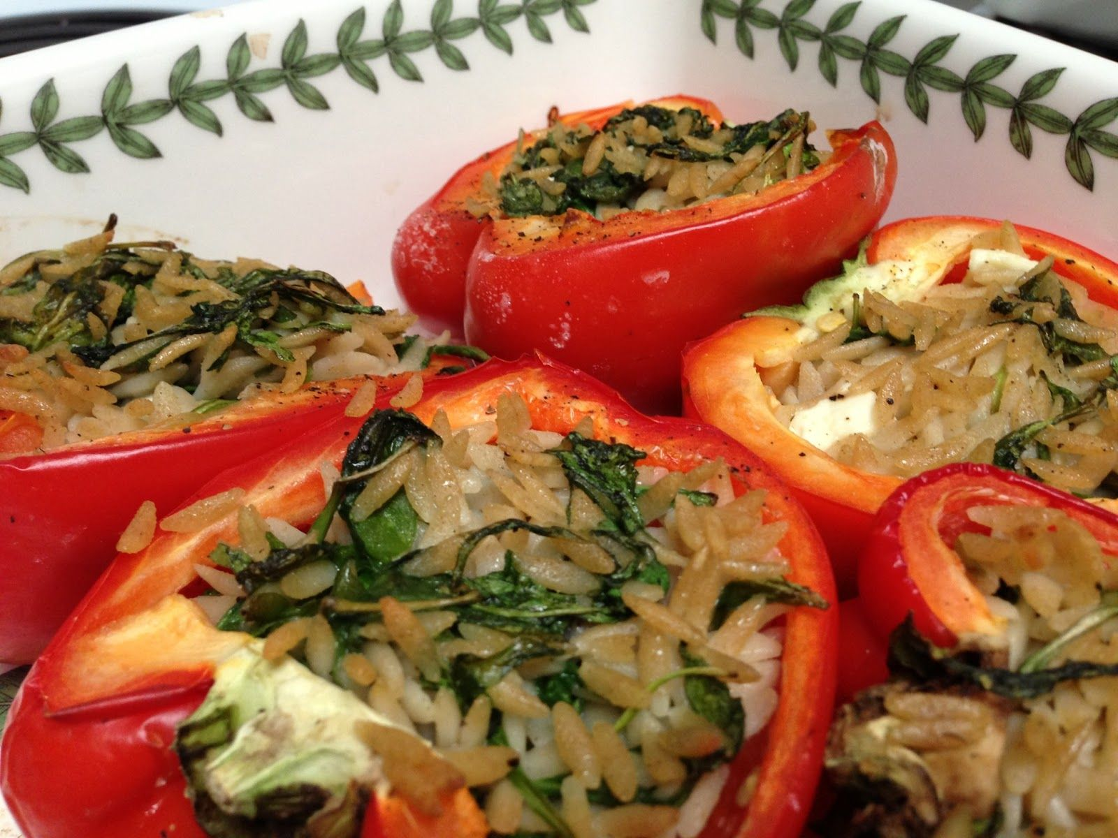 Orzo-Stuffed Red Peppers