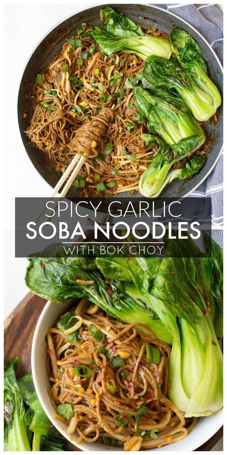Spicy garlic soba noodles