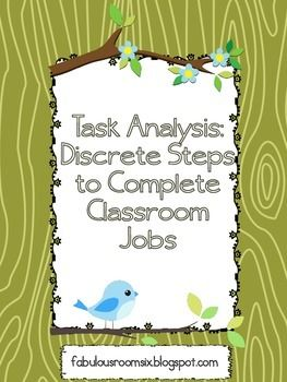 Task Analysis Discrete Steps For Classroom Jobs  Living Skills