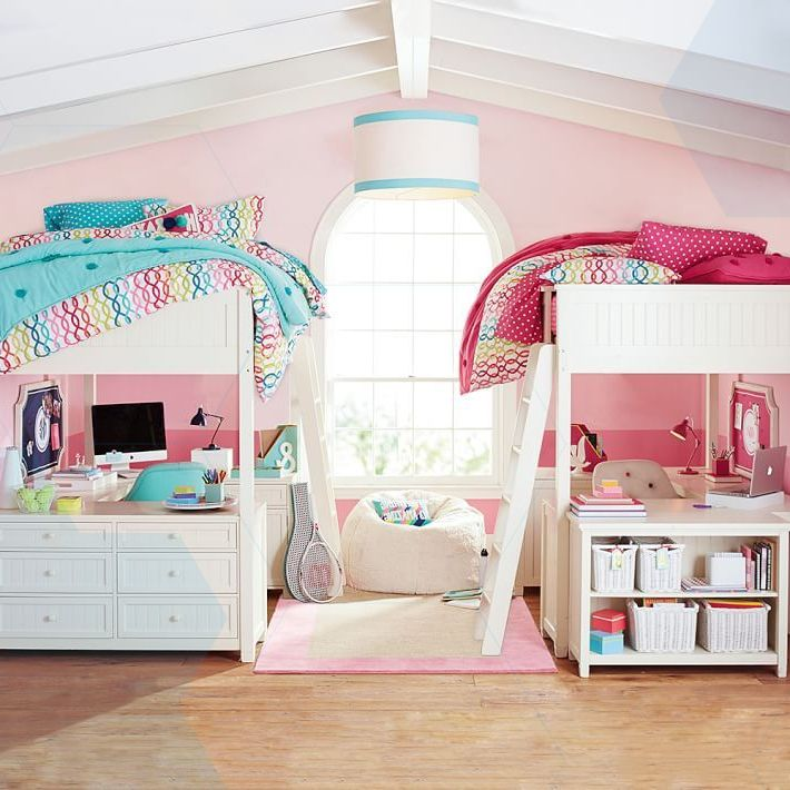 Loft Bedroomdesign: Twin Girls Shared Room Tree Decal With Owls For Fall