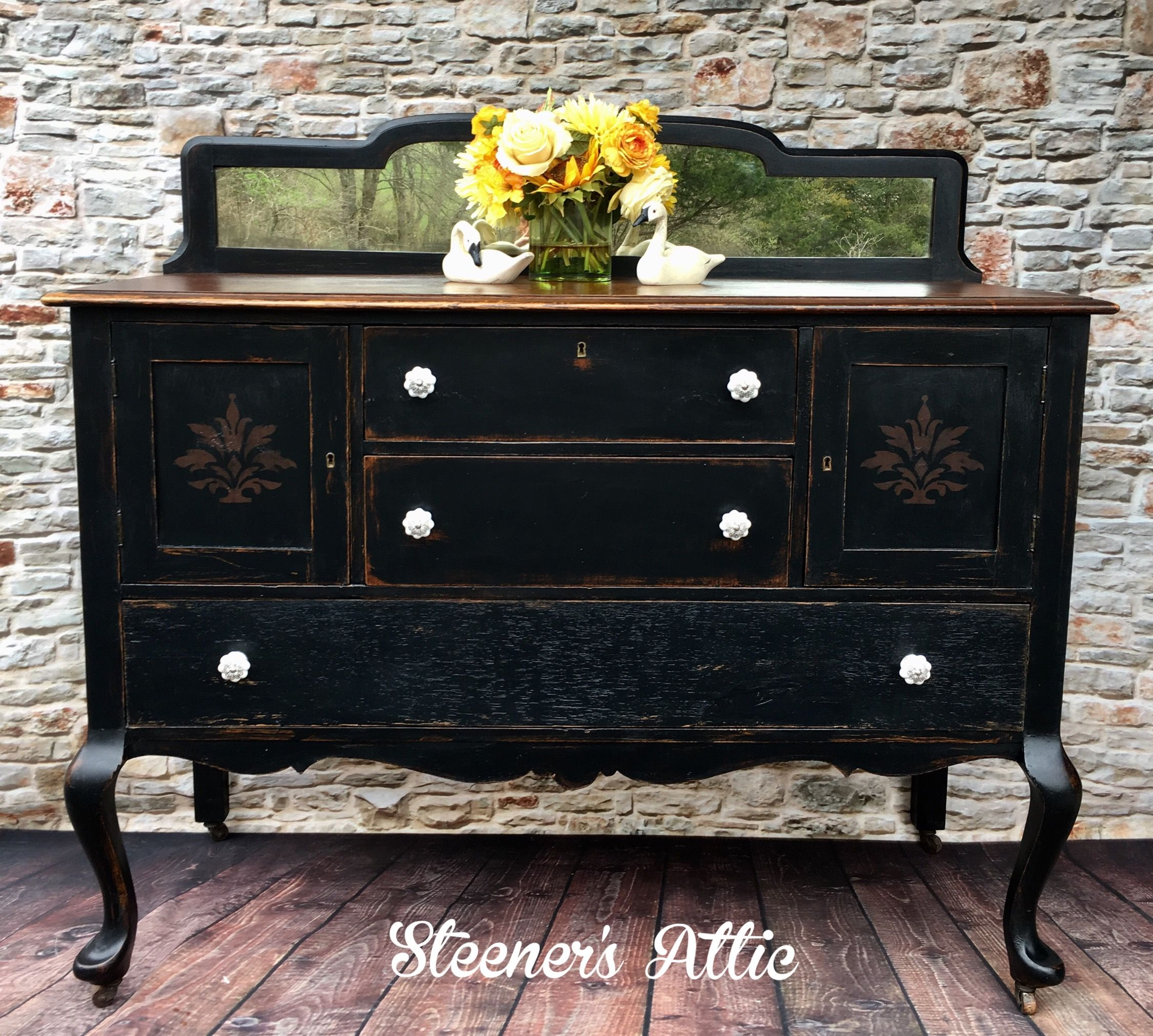 Refinished antique buffet with black chalk paint primitive stencil then waxed