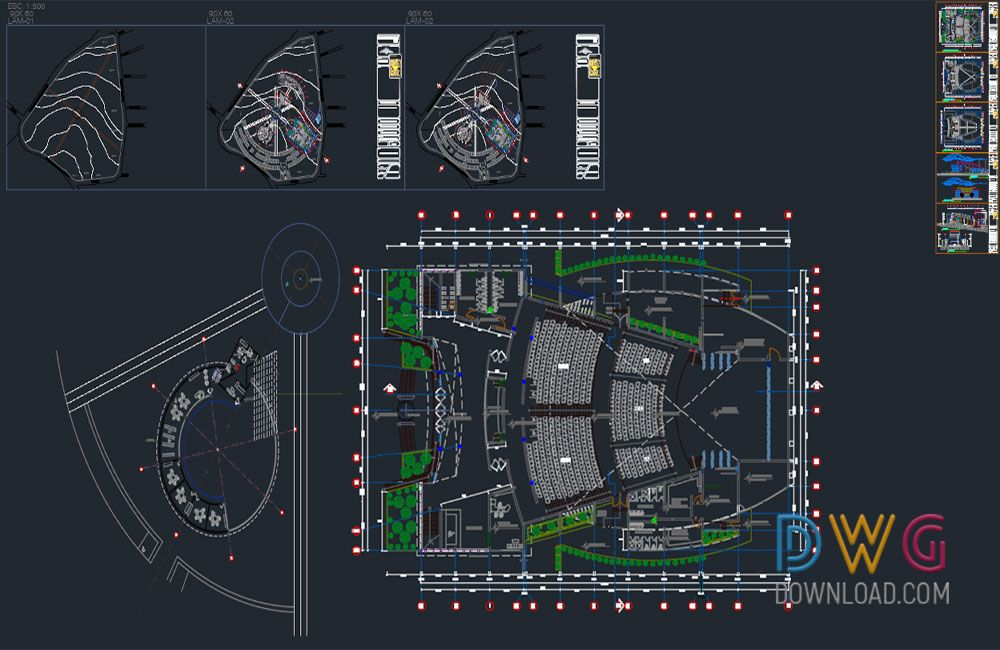Dwg download cultural center full dwg project for Drawing websites no download
