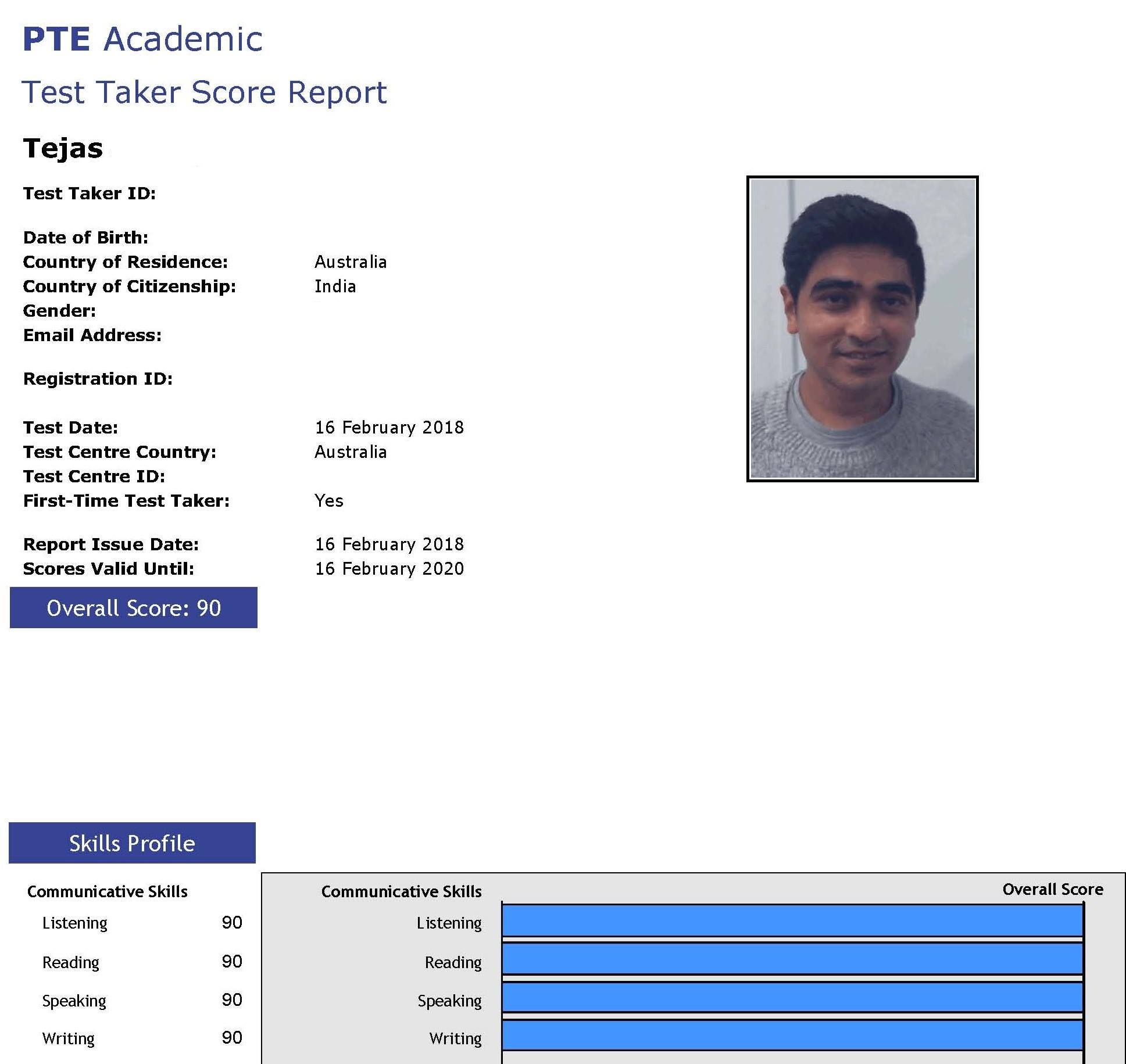 Tejas  from India, recently took the #PTE Academic test, and
