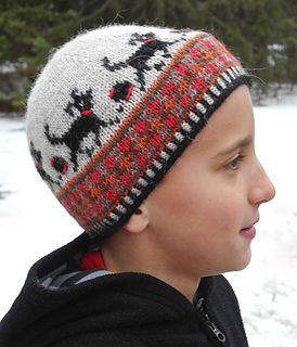 Playful Child s stranded knit hat includes a small rolled brim and two  color rib 61e5b3990aa