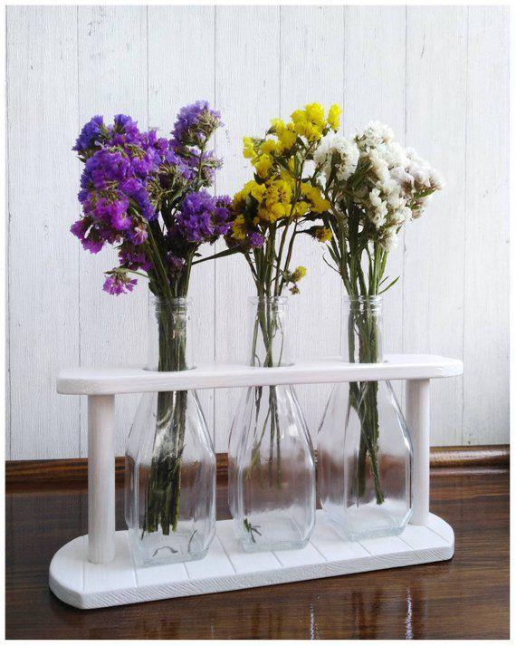 Glass Bud Vase Wooden Vase Holder Framed Bottle Vase ...