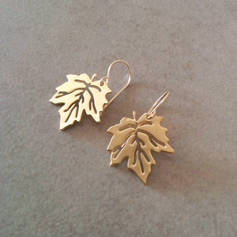 Large Leaf Earrings Dangle Earrings Small Leaf Earrings Gold Leaf Earrings Gold Earrings Filigree Leaf Earrings