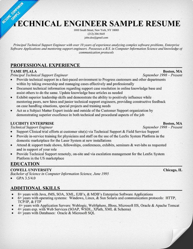 Technical #Engineer Resume Example (resumecompanion) Resume - technical support resume