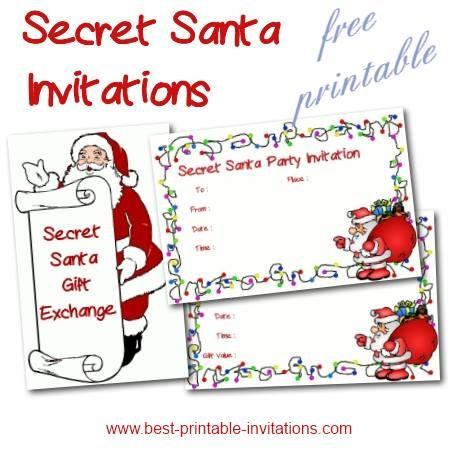 Free Printable Secret Santa Party And Gift Exchange Invitations