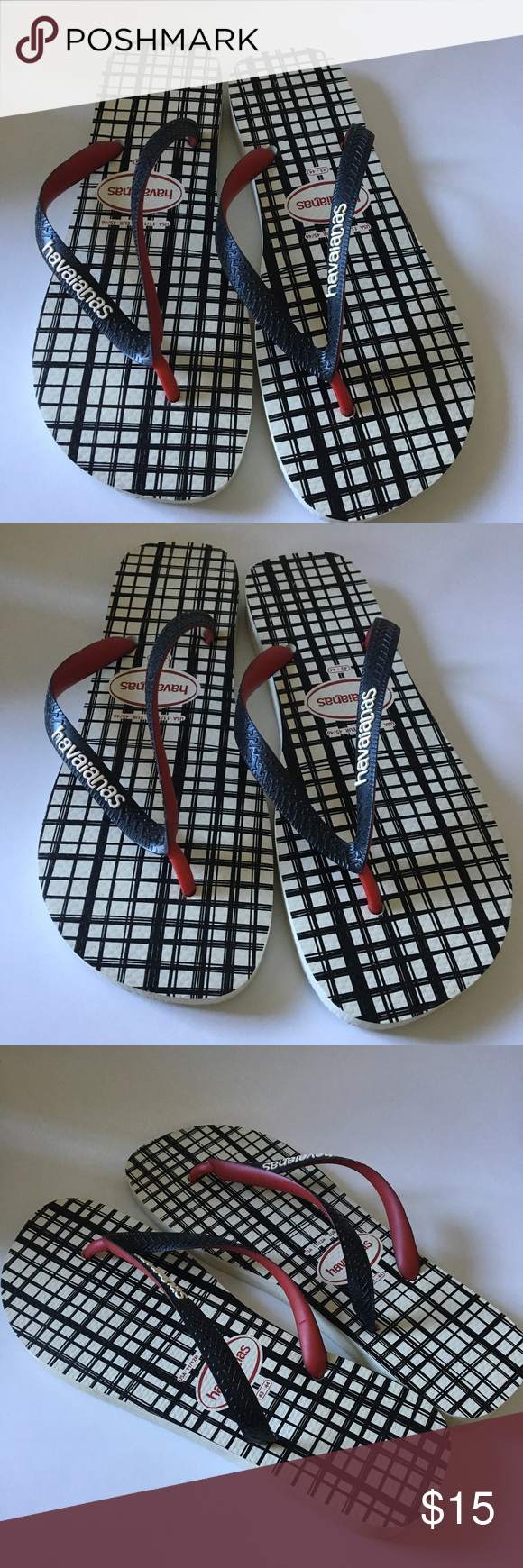 19f6f021cf15e Mens Black Plaid Havaianas Flip Flop 11 12 M Brand New Flip Flops Havaianas  Shoes Sandals   Flip-Flops