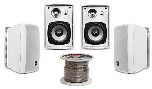 4 Vm Audio Sr Wod4 White Waterproof Indoor Outdoor Patio Speakers Set Wiring