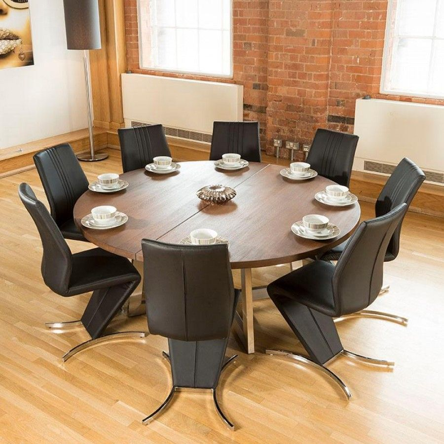 Large Round 1 8mtr Dark Brown Oak Dining Table 8 High Back