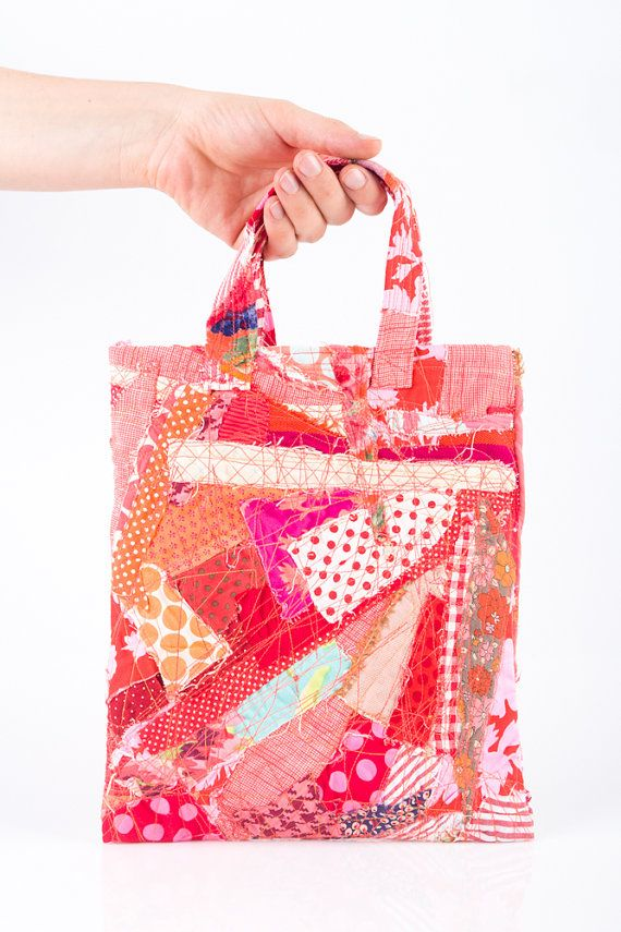 Kids Tote Shoulder Bag Crazy Patchwork Recycled por TIMOHANDMADE