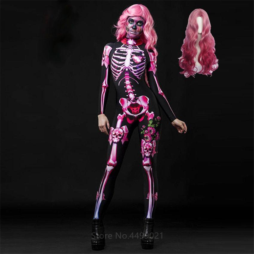 Pink Skeleton Halloween Cosplay Jumpsuit Wig Women Scary